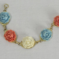 Vintage Carved Flower Bracelet Coral Blue and White Roses on Gold