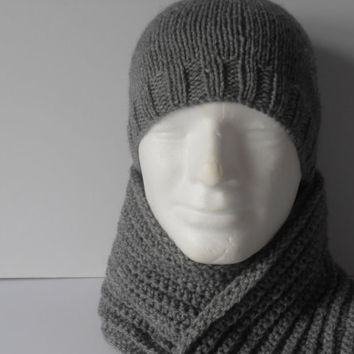 Men's Hat and Scarf Set. Gray Hat and Scarf.  Scarf and Hat Set. Men's Beanie Hat. Long Gray Scarf . Gift for Him. Christmas Gift Men.