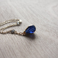 Midnight Blue Faceted Glass Gold Necklace,Blue Hydro Quartz Necklace,Faceted Teardrop Necklace,Blue Gold Sparkly Necklace,Elegant Necklace