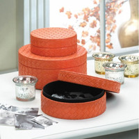 Nesting Round Orange Faux Leather Jewelry Box Trio