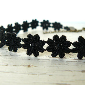 Black Choker Black Daisy Hippie Choker 60's Flower Child Vintage Style Retro Jewelry Boho Choker Necklace