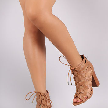 Bamboo Open Toe Cutout Lace-Up Chunky Heel