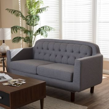 Baxton Studio Virginia Mid-Century Modern Light Grey Fabric Upholstered Walnut Wood Button-Tufted 3-Seater Sofa Set of 1