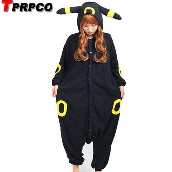 TPRPCO Fleece Pokemon Black Blue Umbreon Espeon Cartoon Footed Onesuits Animal Pajamas Cosplay Costumes NL169