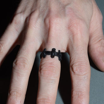 Cute Creepy Ring - Halloween Gothic Stitches Zombie Ring- All Black - Monster Stitches Frankenstein Psychobilly
