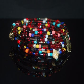 Mixed Colors Seed Bead Memory Wire bracelets