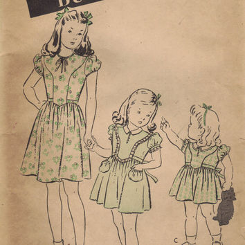 Butterick Sewing Pattern 1930s Vintage Girls Day Party Tea Dress Dirndl Skirt High Bow Neck Lace Trim Uncut FF Toddle Girls Size 4