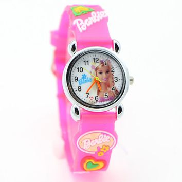 3D Cartoon hello kitty  Barbie princess pink doll Watch Children Kids Girls Boys Students Quartz Wristwatches.