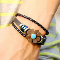 Flower Embellished Leather Bracelet