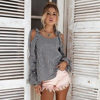 Plaid Hot Sale Strapless Long Sleeve Butterfly Tops Shirt [13536395290]
