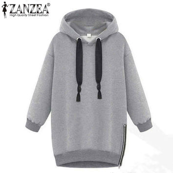 Winter Autumn 2016 Zanzea Fashion Women Long Sleeve Hooded Jacket Loose Warm Sport Hoodies Solid Sweatshirt Plus Size 3 Colors