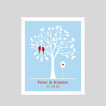 Unique Wedding Gift, Wedding Print, Family Tree Print, Gift for Couple, Personalized Custom Love Birds, Wedding Art, CUSTOMIZE YOUR COLORS