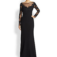ML Monique Lhuillier - Embroidered Tulle Mermaid Gown - Saks Fifth Avenue Mobile