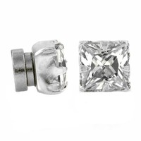 Magnetic Clear Square Cut CZ .925 Sterling Silver Men Unisex Stud Earrings
