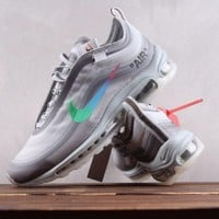 DCCK N186 OFF-WHITE × Air Max 97 Breathable Running Shoes Gradient gray