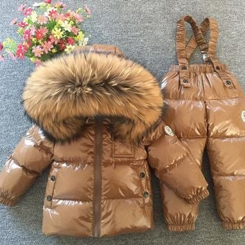 Chocolate Snowsuit Baby Boy 90% duck Down Outdoor Infant Overcoat Raccoon Fur Down Jacket+overalls 2pcs/set red matte for kids