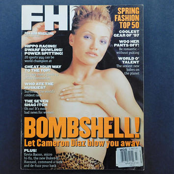 1990s Vintage / FHM Magazine / For Him Magazine / March 1997 / Cameron Diaz / Storm Watch / British Mens Magazine / 90s Fashion / Eurostyle