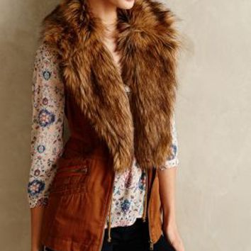 Faux-Fur Shawl Vest by Hei Hei Bronze