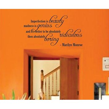 Wall Mural Decal Sticker - Imperfection Is Beauty - Marilyn Monroe Quote