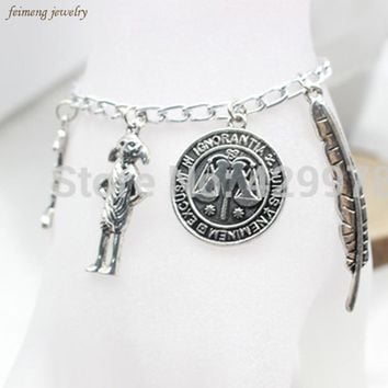 Harry Potter Silver Plated Charm Bead Bracelet