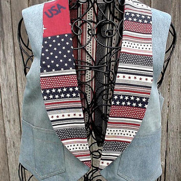 Denim Americana Vest Upcycled Blue Jeans Eco Patriotic Stars and Stripes Rustic Cowgirl Original OOAK Vest itsyourcountryspirit