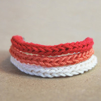 Red ombre bracelet, cord knitted, red orange and white, set of 3 stacking bracelets