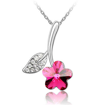 High Quality Crystal from Swarovski Fashion Charm Jewelry Flower Crystal Necklace Pendant For Women White Gold Plated 3752