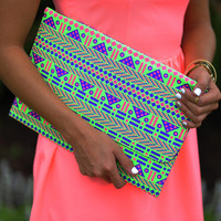 Shocking Aztec Clutch: Neon Green | Hope's