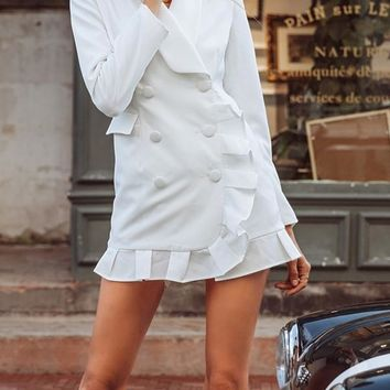 New White Ruffle Buttons V-neck Long Sleeve Casual Mini Dress
