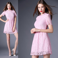 Pink Puff Sleeves A-Line Mesh Lace Mini Dress