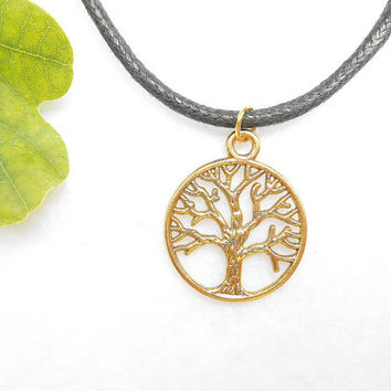 Gold Tree Of Life Necklace - Yggdrasil Necklaces - Gold Tree Necklace - Viking Mens Jewelry - Fathers Day Gift - Mens Jewellery