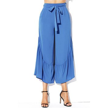 Blue High Waist Side Ruffle Palazzo Pants