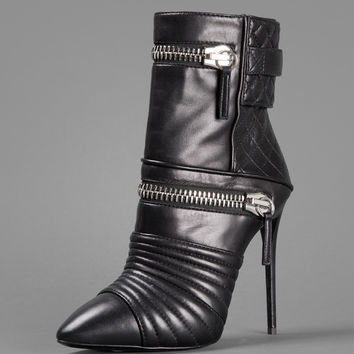 GIUSEPPE ZANOTTI HIGH TEXAS BIKER BOOTS WITH DOUBLE ZIP HEEL: 11CM
