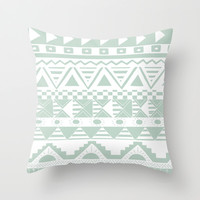 Aztec Mint Throw Pillow by Georgie Pearl Designs | Society6