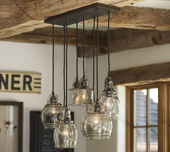 paxton glass 8 light pendant from pottery barn home. Black Bedroom Furniture Sets. Home Design Ideas