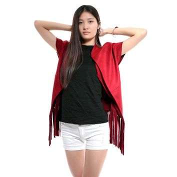 Chic Stand Collar Short Sleeve Pure Color Fringed Coat For Women