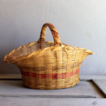 large vintage Easter basket // mid century flared woven wicker natural pink Easter decoration 1950s 1960s