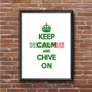 Keep Calm (chive on green white) Photo Poster