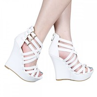 Yab Stephy-95 Strappy Upper Ankle High Wedge Sandals in White @ yabshop.com