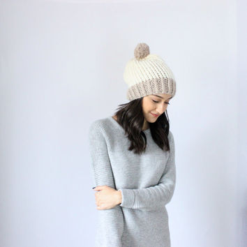 The London Beanie - Super Slouchy Chunky Knit Wool Beanie Hat, with pom pom - Navy & Wheat