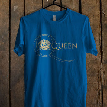 Queen Band Logo Blue Mens T Shirt **