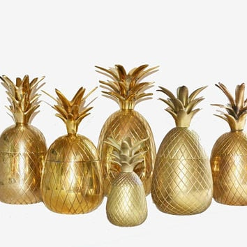 Solid Brass Pineapple Pineapple Container Pineapple Figure Pineapple Bar Wedding Pineapples Coastal Living Pineapples
