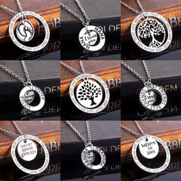 Heart I Love You NANA Sister Daugther Mom Best Friends BFF Heart Tree Of Life Footprint Silver Family Pendant Necklace Collier