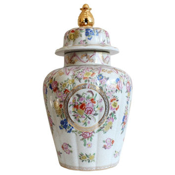 Beautiful Chinoiserie Floral Pattern Chinese Porcelain Temple Jar Gold Accent