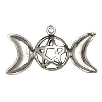 Pentacle With Moons Wiccan Pewter Pendant