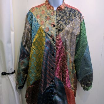 Indian Inspired Patchwork Long Sleeve Shirt