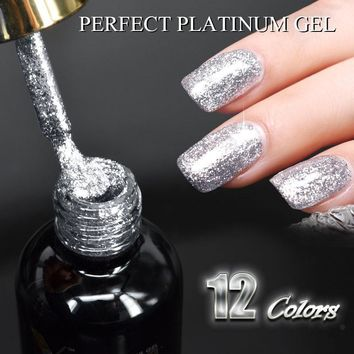 Nail art Venalisa 12ml 12 color supper diamond shining glitter sequins starry platinum paint gel