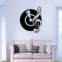 Wall Sticker Gramophone Notes Music Cool Modern Decor For Living Room z1503