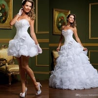 2015 Sweetheart Ruched Elegant Organza White Two Pieces Wedding Dress 2015 Tiered Bridal Gown Casamento Vestidos De Novia SL-W92