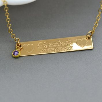 Perfect Bar Name Necklace, Gold Bar Necklace Personalize, Bar Necklace with Birthstone, Gold, Silver, Rose Gold